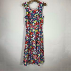 Vintage Sundress A Line Floral Belted Sz 8 Petite